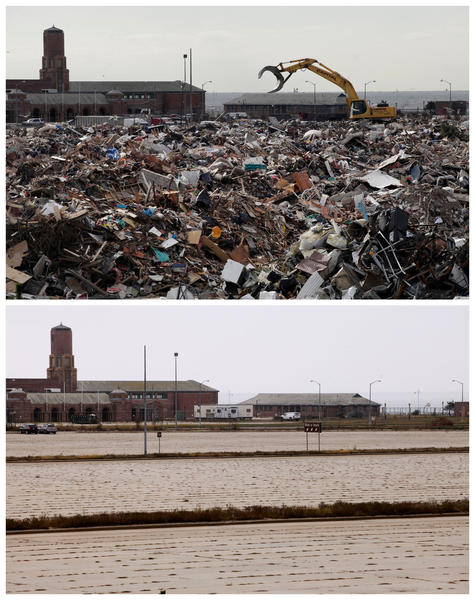 This combination of Nov. 14, 2012 and Oct. 17, 2013 photos shows construction equipment working on debris collected during the cleanup from Superstorm Sandy in the parking lot of Jacob Riis Park in the Rockaway section of the Queens borough of New York and the empty lot almost a year later.