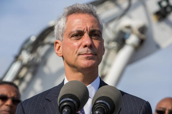 Mayor Rahm Emanuel takes questions Monday after a groundbreaking for a transportation and logistics center at Olive-Harvey College in Chicago.