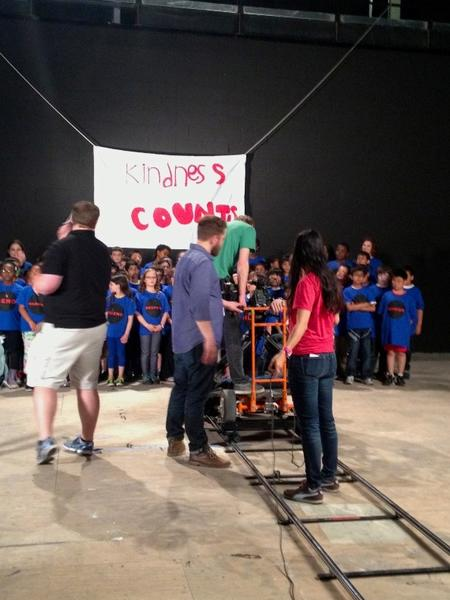 DePaul students prepare to film an anti-bullying PSA with Highland Elementary pupils at CineSpace studio recently.