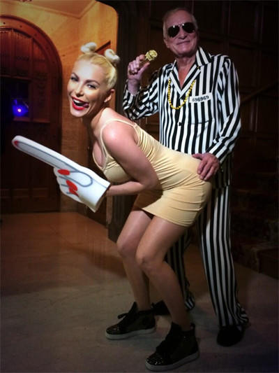 For Halloween, Hugh Hefner and wife Crystal Harris dressed up as Robin Thicke and Miley Cyrus at the MTV Video Music Awards.