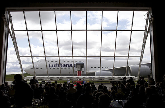 A Boeing 747- 8 Intercontinental airliner which was delivered to launch partner Lufthansa is revealed at the Boeing factory at Paine Field Airport May 1, 2012 in Everett, Washington. Deutsche Lufthansa AG is the first commercial airline to deploy the plane and has ordered twenty.