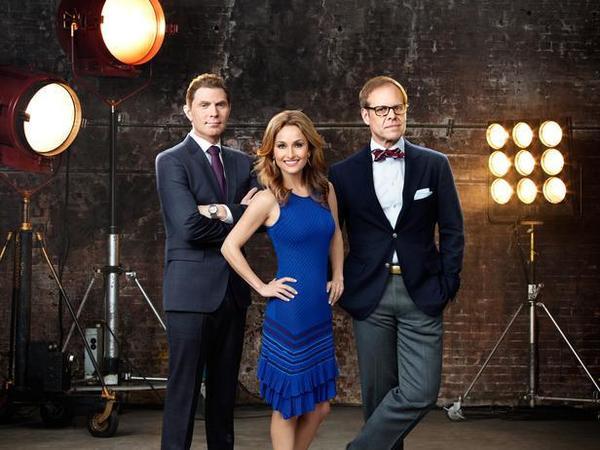"""Food Network Star"" hosts Bobby Flay, Giada De Laurentiis and Alton Brown."