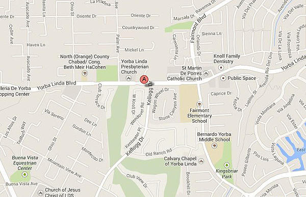 A map shows the approximate location of a fatal shooting in Yorba Linda.