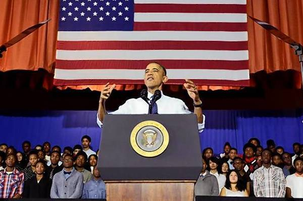U.S. President Barack Obama speaks at the Pathways in Technology Early College High School in Brooklyn.