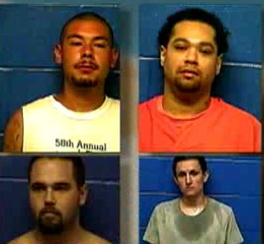 Four Oklahoma inmates escaped from a county jail through a maintenance hatch in a shower. Clockwise: Prime Tounwin Brown, 23; Triston Cheadle, 32; Anthony James Mendonca, 24; and Dylan Ray Three Irons, 21.