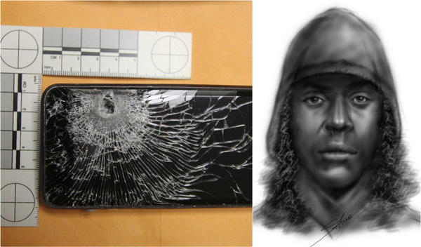Police say this smartphone saved a gas station clerk from serious injury after a gunman (sketch at right) opened fire during a robbery on Monday.