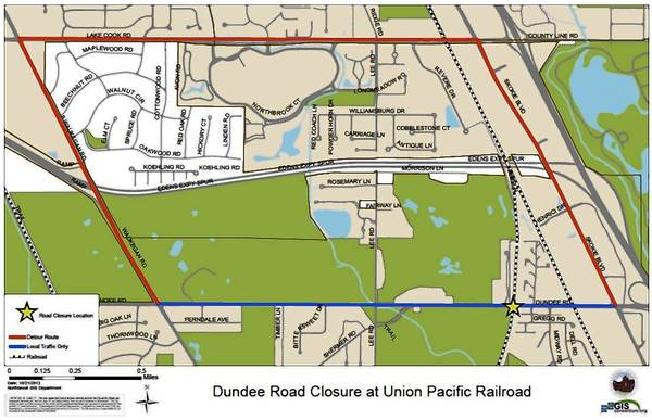 A map of the closure on Dundee Road in Northbrook and the reroute path. Dundee Road will be closed between Skokie Boulevard and Waukegan Road from Nov. 2 to Nov. 8.