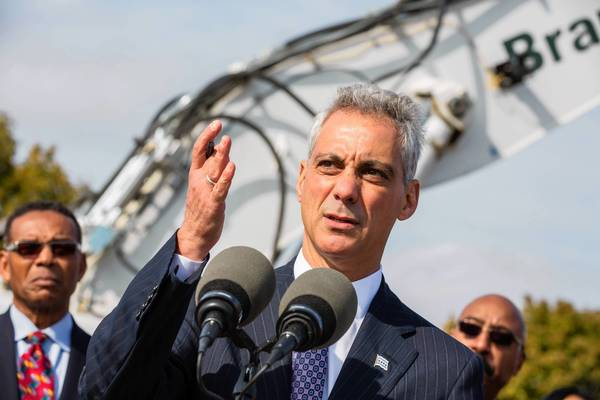 Mayor Rahm Emanuel, shown Monday at an event on the Southeast Side, is counting in part on a cigarette tax increase to help bankroll the city budget next year.