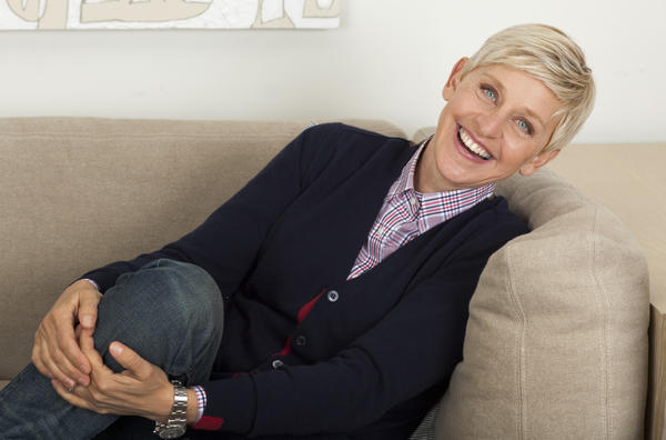 Talk show host Ellen DeGeneres sits in her Warner Bros. studio dressing room April 2, 2013, in Burbank.