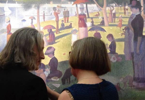 "John Poole and Stacy Alan are married inside the Art Institute of Chicago on Saturday morning in front of Georges Seurat's famous ""A Sunday on La Grande Jatte."""