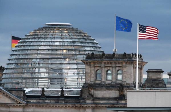 The U.S. Embassy, right, sits near Germany's legislative buildings in Berlin. Chancellor Angela Merkel is among the leaders of U.S.-allied nations who have complained in recent days over reports of U.S. spying.