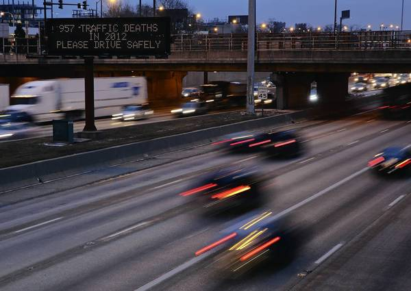 An electronic sign on the outbound Dan Ryan Expressway at Taylor Street warns motorists to practice safe driving.