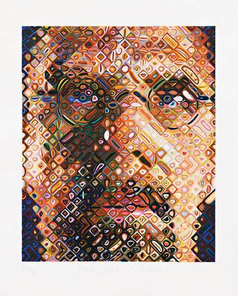 """Self-Portrait"" by Chuck Close (2002), a 43-color woodcut with pochoir on Nishinouchi paper, 31 x 25, is part of the exhibit ""Closer"" at the Bruce Museum in Greenwich."