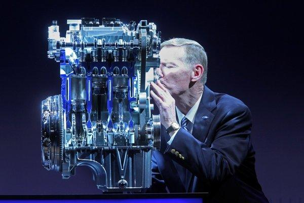 Alan Mulally, Ford CEO, kisses the Ford 1.0 l EcoBoost engine. That will go into the Fiesta sub-compact in the U.S.
