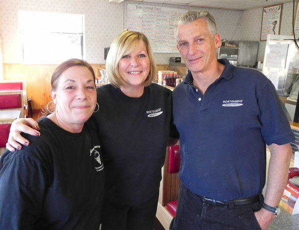 (From right to left) Rod Mortensen posed for a photo with his sister, Bev Nogas, and Debbie Tardif. Mortensen and Nogas have been part of the family business from the beginning and Tardif has worked with the restaurant for the last 12 years.