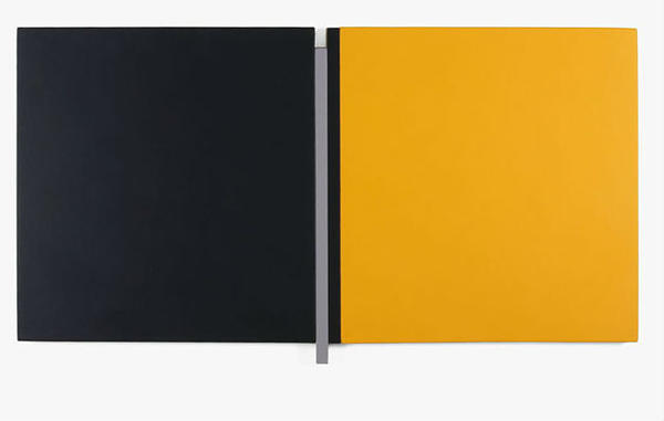 "Scot Heywood used acrylic on canvas and wood for ""Sunyata, Black, Gray, Yellow"" (2008)."