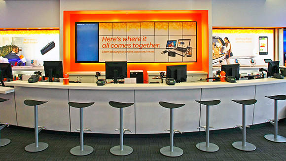 The service bar at the AT&T store in Arlington Heights.
