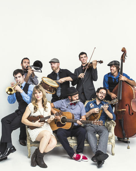 The Dustbowl Revival will perform Tuesday from noon to 1:30 p.m. at the Wells Fargo Center Plaza, 333 S. Hope St.