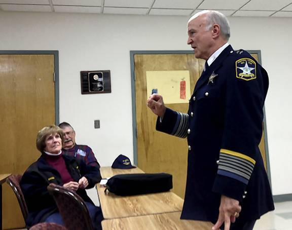 Harford County Sheriff Jesse Bane speaks about traffic safety concerns during the Oct. 24 meeting of the Darlington/Dublin Community Council.