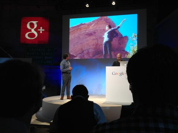 Google executive Vic Gundotra shows off new Google+ features at a news conference in San Francisco.