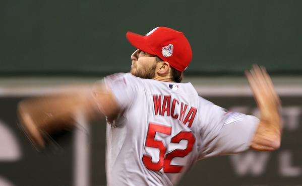Cardinals pitcher Michael Wacha works against the Red Sox in Game 2 on Thursday.