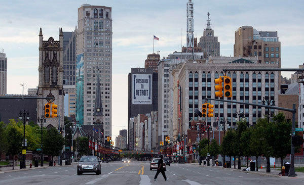 Downtown Detroit is seen looking south along Woodward Avenue in Detroit, Michigan July 21, 2013.