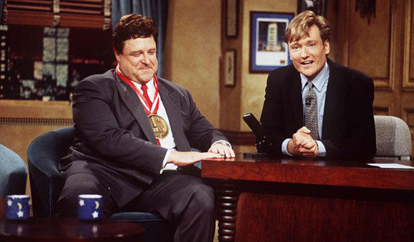 """John Goodman, left, and Conan O'Brien on the very first """"Late Night With Conan O'Brien"""" in 1993."""