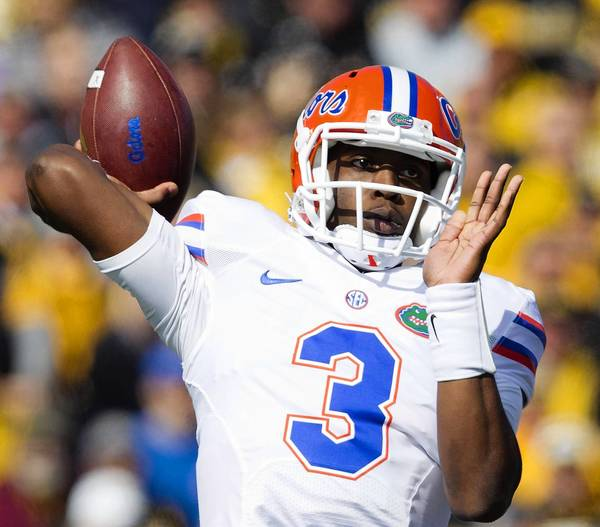 Florida Gators quarterback Tyler Murphy looks to pass. The Missouri Tigers defeated the Florida Gators, 36-17, at Faurot Field in Columbia, Missouri, on Saturday, October 19, 2013.