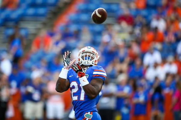 Florida running back Kelvin Taylor catches a pass during warm up before the start of an NCAA college football game against Arkansas in Gainesville, Fla. on Saturday, October 05, 2013.