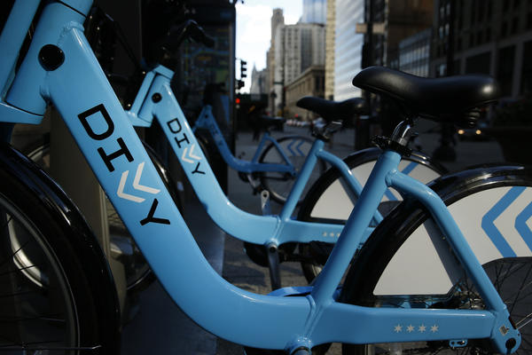 Divvy rental station on Michigan Avenue in Chicago.