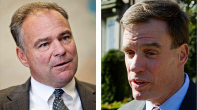 Sens. Tim Kaine, left, and Mark Warner.