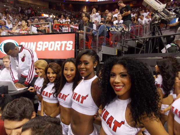 The Miami Heat dancers smile for the camera before the game.