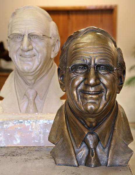 The bronze bust of Vi Stoia done by Ben Victor sits with the clay cast, The bust was recently damaged by vandals and has been sent for repairs. American News File Photo by John Davis