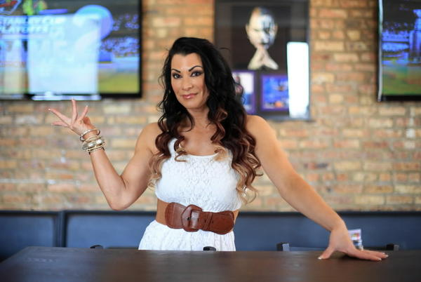 Pro wrestler Lisa Marie Varon at her Lincoln Park restaurant, The Squared Circle, May 2, 2013