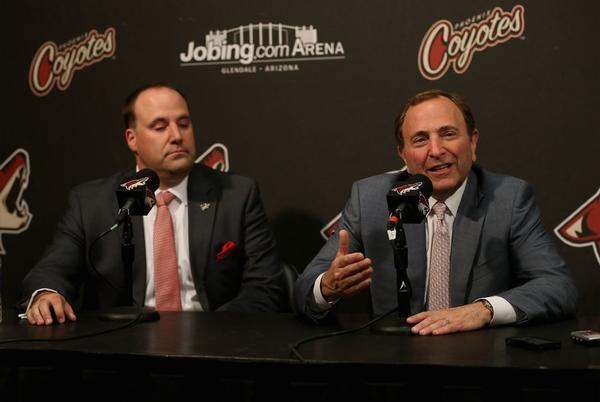 Phoenix Coyotes owner Anthony LeBlanc, left, with NHL Commissioner Gary Bettman at a news conference this month.