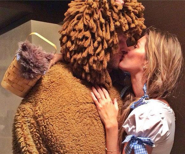 New England Patriots quarterback Tom Brady enjoys some Halloween fun with wife Gisele Bundchen.