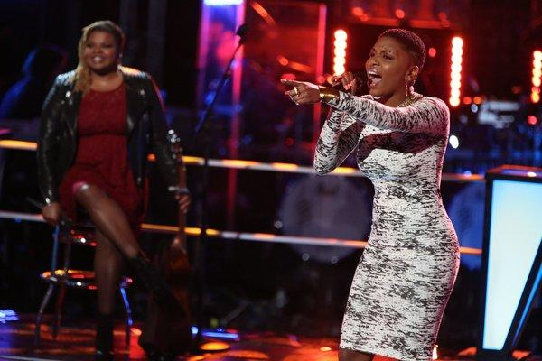 "Stephanie Anne Johnson and Tamara Chauniece compete in knockout rounds on ""The Voice."""