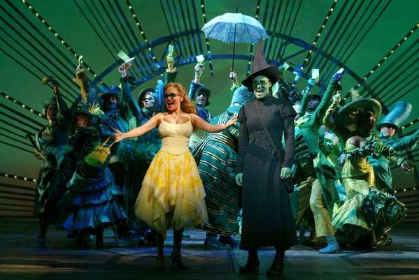"Kristin Chenoweth, left, and Idina Menzel in a scene from the original Broadway company of ""Wicked."""