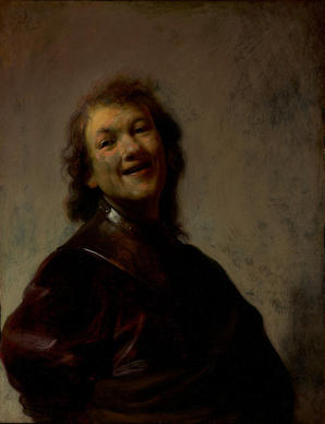 """Rembrandt Laughing,"" a self-portrait oil painting on copper, is from about 1628."