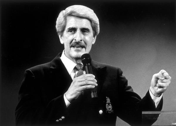 Trinity Broadcasting Network founder Paul Crouch delivers his message of faith and praise at a revival meeting held in the Cathedral of Light in Selma, Calif., on Aug. 18, 1988.