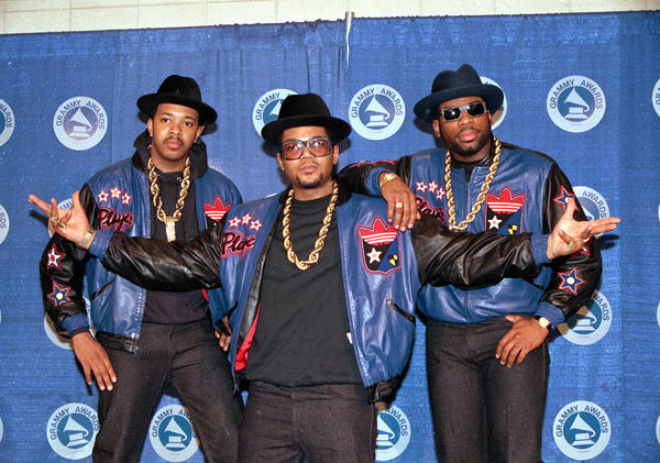 "Run DMC (from left, Joseph ""Run"" Simmons, Darryl ""DMC"" McDaniels, and Jason Mizell ""Jam Master Jay"") pose at the 31st annual Grammy Awards in New York City on March 2, 1988."