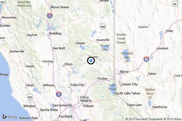 A map showing the location of the epicenter of Wednesday morning's quake near East Quincy, Calif.