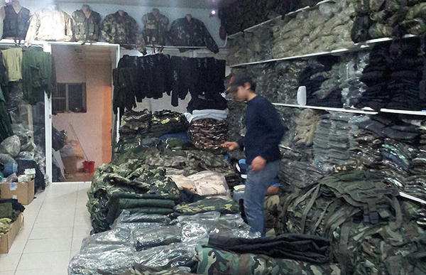 """Sure, we're arming the brigades and battalions of Syria,"" boasts one employee of a shop in the Aleppo Market in Antakya, Turkey, near the border with Syria. ""I get a new commander in here every day."""