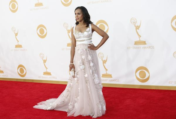 "Kerry Washington of ""Scandal"" is reportedly pregnant and about four months along, according to reports. Above, Washington at the Emmy Awards in September."