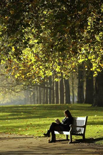 Londoners enjoy the autumn leaves in Hyde Park