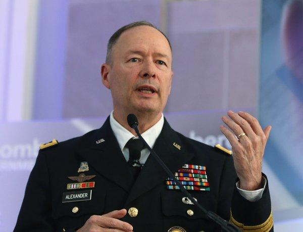 U.S. Army Gen. Keith Alexander, director of the National Security Agency, speaks during a conference in Washington.