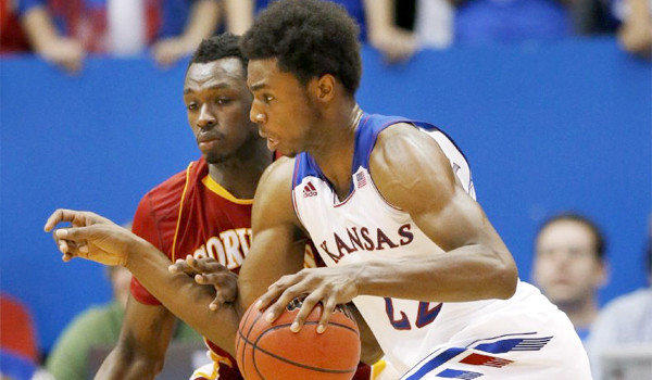 Kansas guard Andrew Wiggins scored 16 points and collected six rebounds in his exhibition debut for the Jayhawks in a victory over Pittsburgh State, 97-57, on Tuesday.