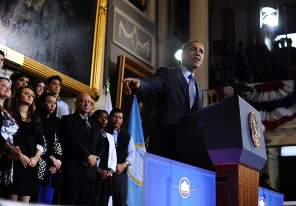 President Obama speaks on healthcare before a crowd of supporters at Faneuil Hall in Boston on Wednesday.
