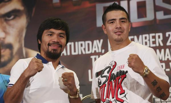 Does Brandon Rios, right, have a legitimate chance at defeating Manny Pacquaio, left, when the two meet in the ring next month in Macao?