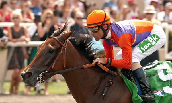Jockey Gary Stevens rides Beholder to victory in the $100,000 Torrey Pines Stakes a Del Mar in September. Beholder has won seven of 10 races for trainer Richard Mandella.